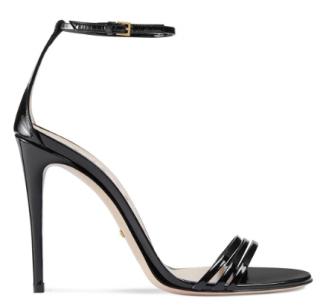 Gucci Black Patent Leather Strappy Sandals