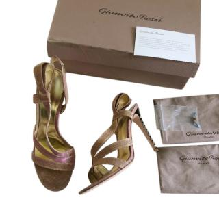 Gianvito Rossi Metallic Rose Gold Crystal Embellished Sandals