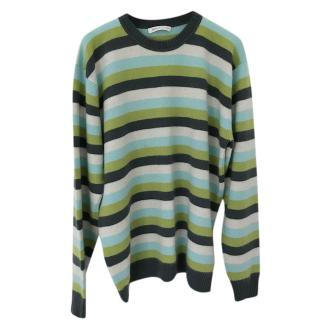 Johnston�s of Elgin Green Striped Knit Jumper
