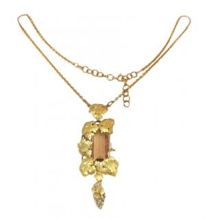 Bespoke 18ct Gold Quartz Vine Leaf Necklace