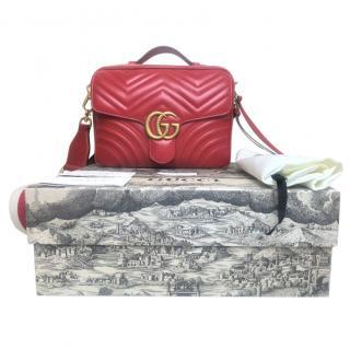 Gucci red leather GG Marmont Matelasse Shoulder Bag