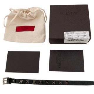 Valentino Black Rockstud Leather Bracelet