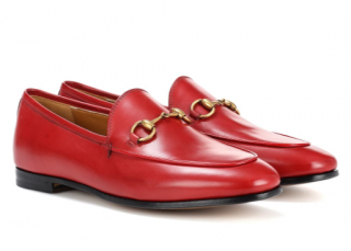 Gucci Red Jordaan Leather Loafers