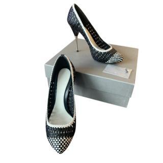 Alexander McQueen Woven Leather Pin Heel Pumps