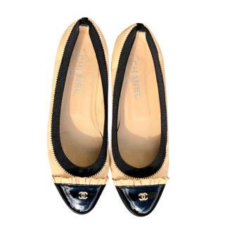 Chanel Two-Tone Ruffle Trim Ballerina Flats