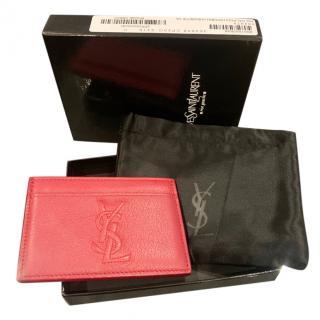 Saint Laurent Red Grained Leather Monogram Card Holder