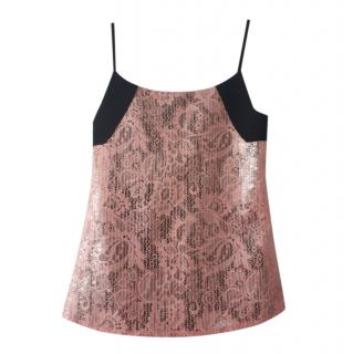 Balenciaga Pink Embroidered Sequin Embellished Cami