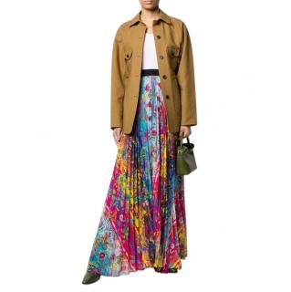 Golden Goose Floral Print High-Rise Pleated Maxi Skirt