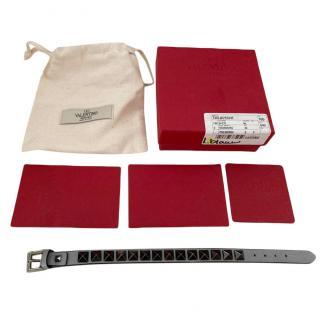 Valentino Anthracite Rockstud Leather Bracelet