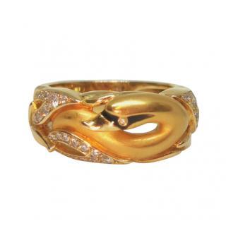 Magerit Yellow Gold Diamond Swan Ring