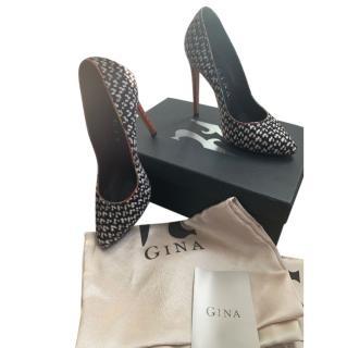 Gina Pony Hair, Leather & Python 100mm Pumps