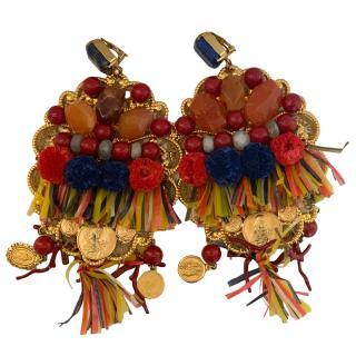 Dolce & Gabbana Beaded Crystal Tassel Trim Earrings