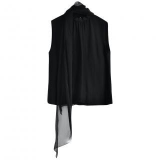 Ralph Lauren Collection black silk tie neck top