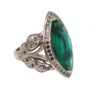 St Diamond Diamond, Emerald, Sapphire & Tourmaline Ring