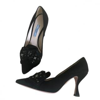 Prada Black Sculpted Heel Suede Embellished Pumps