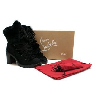 Christian Louboutin Fanny 70 Black Pony Lace-Up Boots