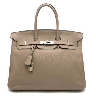 Hermes Gris Tourterelle Clemence Leather Birkin 35