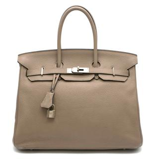 Hermes Gris Tourterelle Clemence Leather Birkin 35