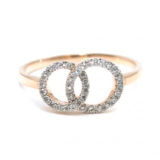 Bespoke Diamond Double Loop 18kt Rose Gold Ring