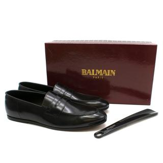 Balmain Black Shine Leather Penny Loafers
