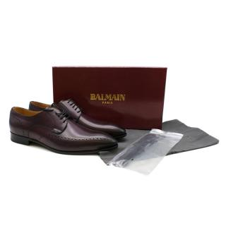 Balmain Purple Leather Perforated Low Rise Brogues