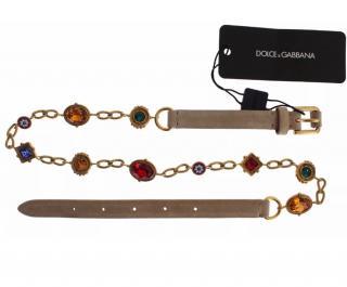 Dolce & Gabbana Baroque Crystal Suede Waist Belt
