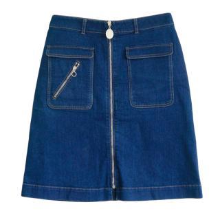 Stella McCartney Denim Zip-Front A-Line Skirt