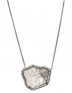 Susan Foster White Gold Diamond Slice Necklace