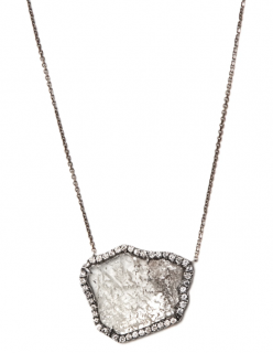 Susan Foster White Gold Diamond Slice Necklace