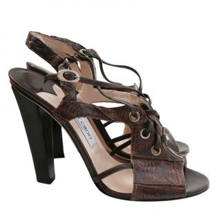 Jimmy Choo Brown Leather Evita Lizard Sandals