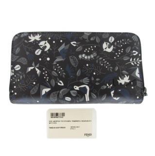 Fendi Monster Print Zip-Around Wallet