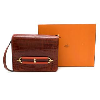 Hermes Rouge H Shiny Croc Permabrass Roulis 23cm
