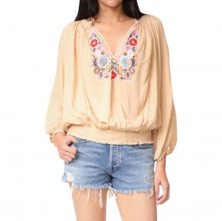 Melissa Odabash Nude Floral Embroidered Tunic