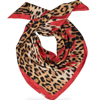 Moschino Leopard Print Red Scarf