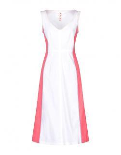 Marni pink & white sleeveless v-neck midi dress