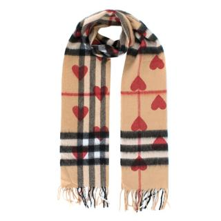 Burberry Check Cashmere Scarf with Heart Print