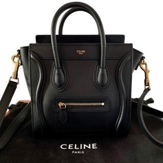 Celine Black Calfskin Nano Luggage Tote Bag