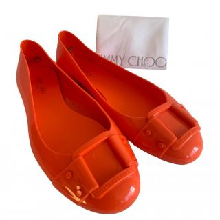 Jimmy Choo Orange Gel Ballerinas