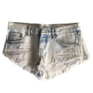 One By One Teaspoon Denim Distressed Shorts