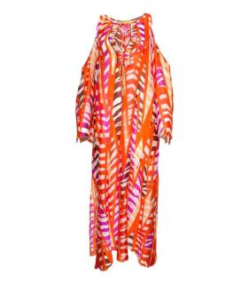 Emilio Pucci Silk Cold Shoulder Maxi Dress