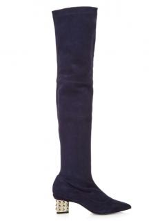 Nicholas Kirkwood Navy Suede Over Knee Boots
