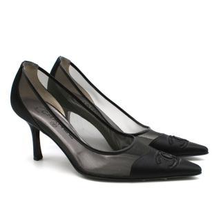 Chanel Black Satin & Mesh Pointed Toe Pumps