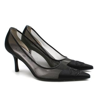 Chanel Black Satin & Mesh Pointed Toe Pumps