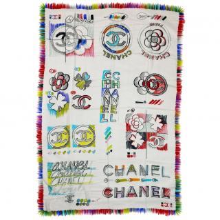 Chanel Cashmere Camellia Logo Shawl