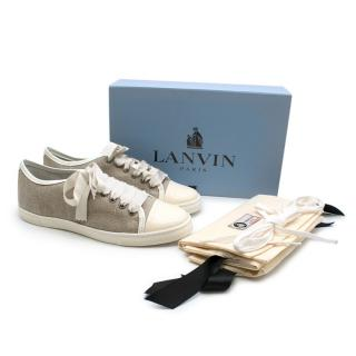 Lanvin taupe canvas & leather low rise trainers