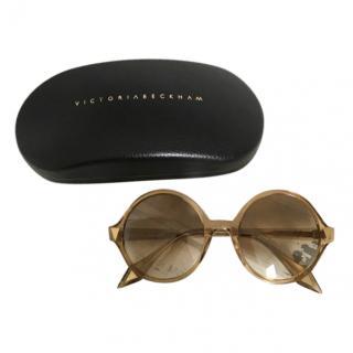 Victoria Beckham Golden Brown Round Sunglasses