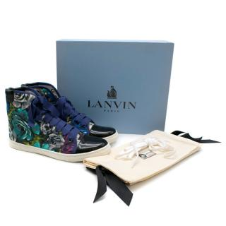 Lanvin Floral print canvas hi-top trainers
