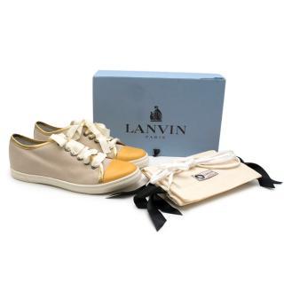 Lanvin cream & gold canvas low rise trainers