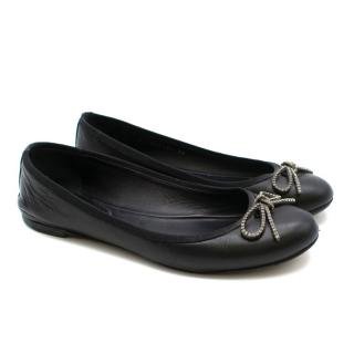 Saint Laurent Black Leather Ballerina Flats with Bow