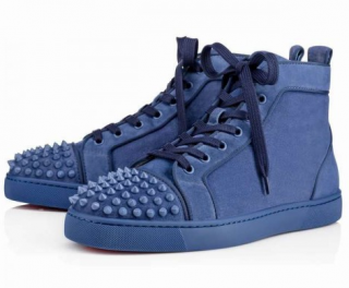 Christian Louboutin Men's Orlato Spike Flats in Blue Suede